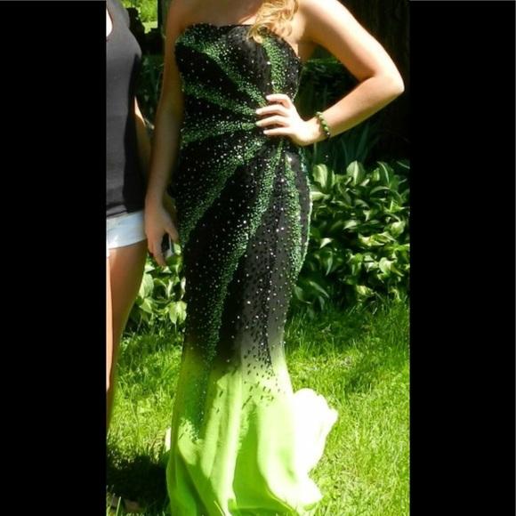 Dresses Unique Black And Lime Green Prom Dress Poshmark